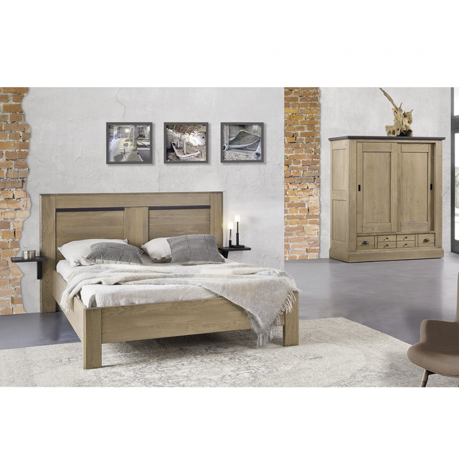 lit en chene massif moderne finlandek tte de lit kyn en bois massif revtement tissu gris clair. Black Bedroom Furniture Sets. Home Design Ideas