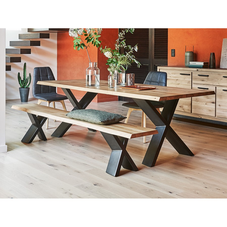 grande table de salle manger plateau fixe 100 ch ne massif. Black Bedroom Furniture Sets. Home Design Ideas