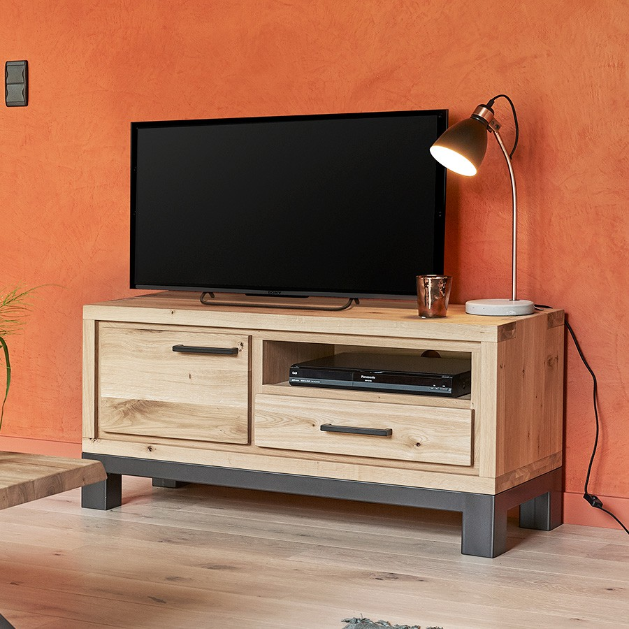 Petit meuble tv 1 porte forest en ch ne 100 massif for Meuble tv petit format