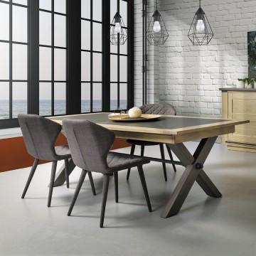 Table Magellan style Atelier plateau céramique grise