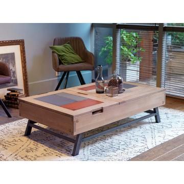 Table basse relevable dessus métal