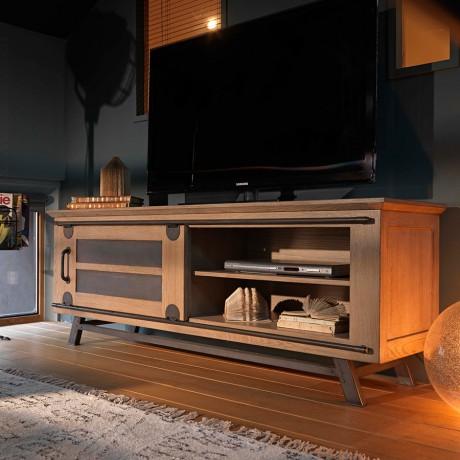 magasin d'usine 638f8 0ba80 Grand meuble TV avec porte coulissante style atelier de chez Artcopi