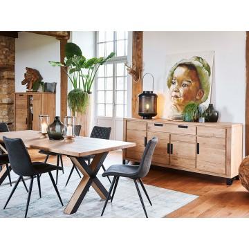 Table Hudson fintion rustique plateau bois et piétement métallique