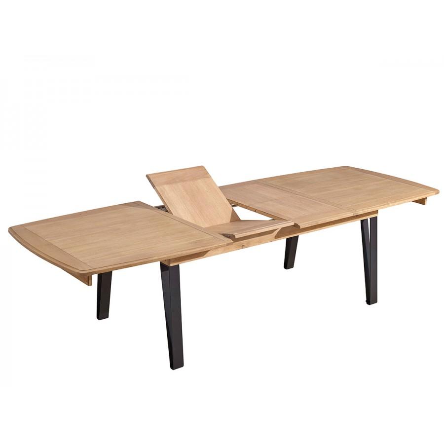 Table plateau bois 200 et pied m tal style chaleureux finition bi ton - Table plateau bois pied metal ...