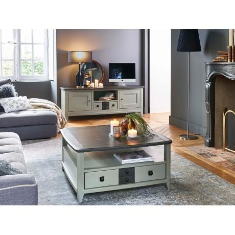 Table basse carrée 2 tiroirs