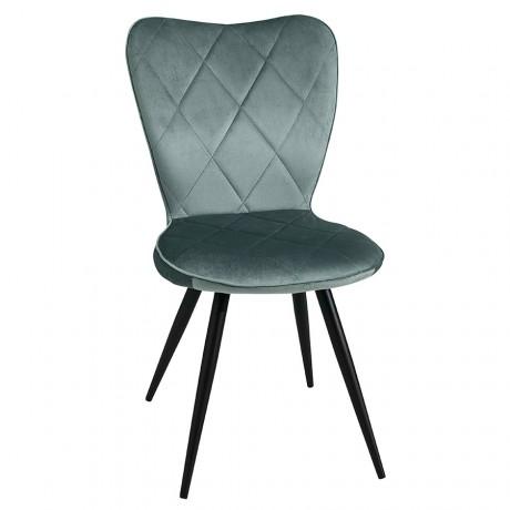 Chaise Seraphine tissu bleu vert pied métal