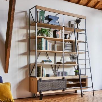 Bibliothèque Fusion style atelier