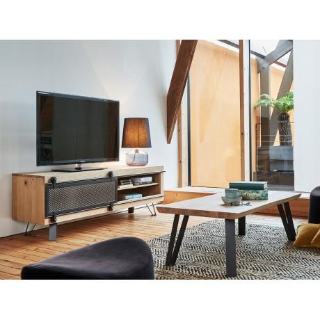 Grand meuble TV Fusion 1 porte métal coulissante