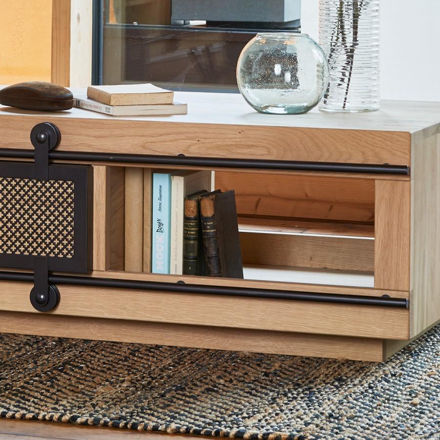 Petit Meuble De Separation petit meuble tv style atelier fusion 1 porte coulissante métal