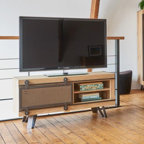 Petit meuble TV Fusion 1 porte métal coulissante