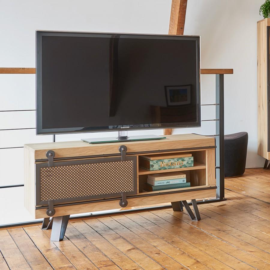 Petit Meuble De Separation petit meuble tv fusion 1 porte métal coulissante