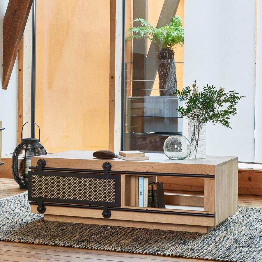 Table basse Fusion avec 2 niches pour un espace de rangement