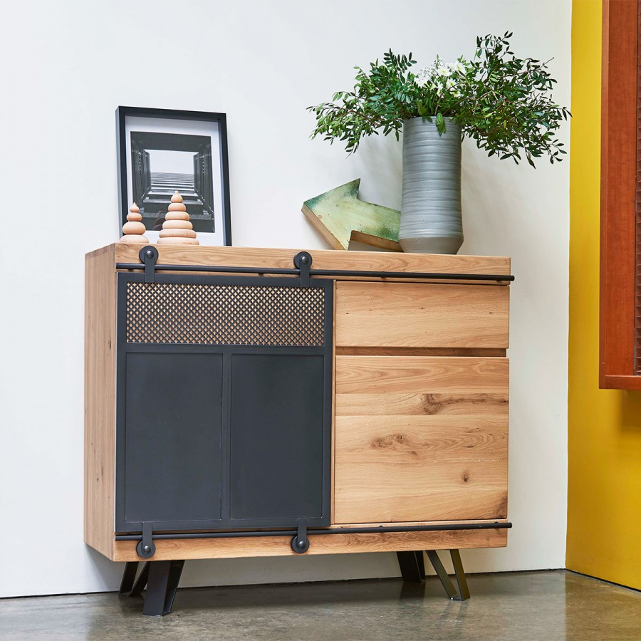 Petit Meuble De Separation meuble d'entrée style atelier fusion 1 porte coulissante métal