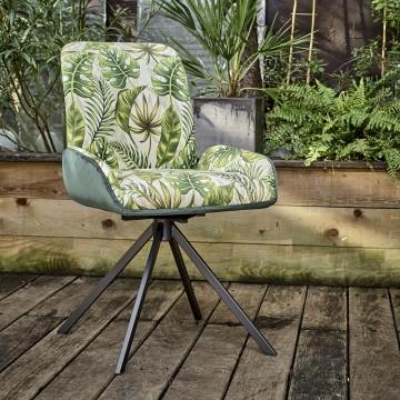 Chaise pivotante Eden avec motif feuilles