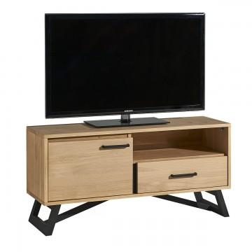 Meuble TV 1 porte 1 tiroir 1 niche 124 cm Nomade