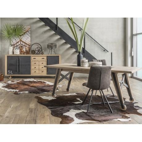 Table pieds métal et bois avec roulettes Express